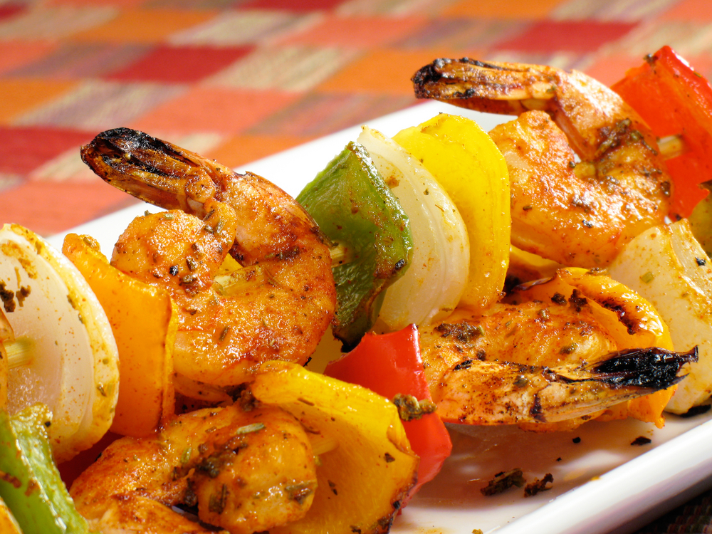 Spicy Shrimp Kebabs with Honey